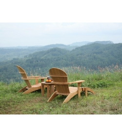 Double Adirondack Chair Set