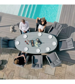 Ascot 8 seat oval dining with lazy susan