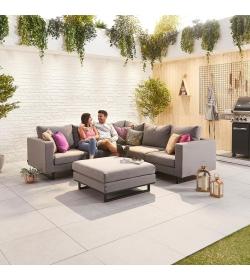 Eden Fabric Corner Sofa Set with Footstool