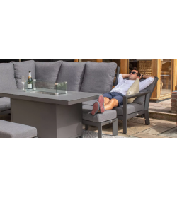 Manhattan Reclining Corner Dining Set - With Firepit Table