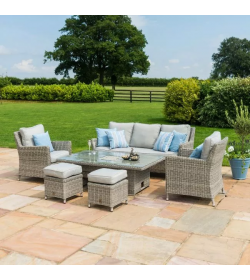 OXFORD SOFA DINING SET WITH ICE BUCKET & RISING TABLE