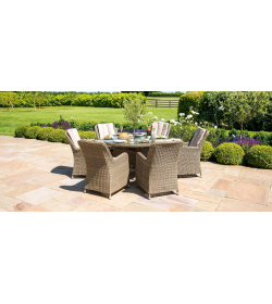 Winchester - Venice 6 Seat Round Fire pit Dining Set - With Lazy Susan