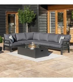 Oslo Corner Group with Rectangular Gas Firepit Table