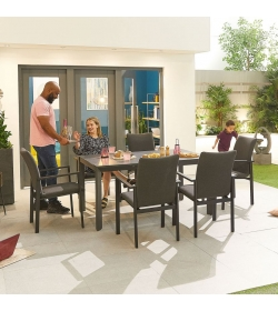 Hugo Outdoor Fabric 6 Seat Rectangular Dining Set
