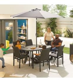 Hugo Outdoor Fabric 6 Seat Oval Dining Set