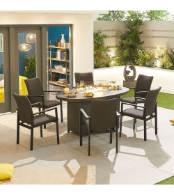 Hugo Outdoor Fabric 6 Seat Oval Dining Set with Firepit Table