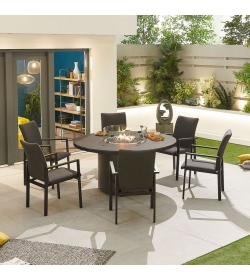 Hugo Outdoor Fabric 6 Seat Round Dining Set with Firepit Table
