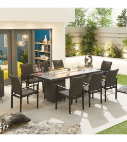 Hugo Outdoor Fabric 8 Seat Rectangular Dining Set with Firepit Table