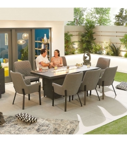 Genoa Outdoor Fabric 8 Seat Rectangular Dining Set with Firepit Table