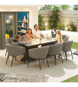 Edge Outdoor Fabric 8 Seat Rectangular Dining Set with Firepit Table